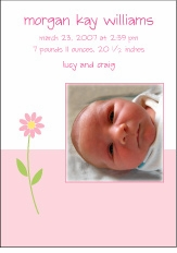 Bottom Block Flower Photo Birth Announcement