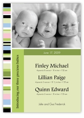 Candy Stripe Triplet B&G Photo Birth Announcement