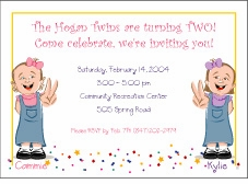Cartoon Kids 2 Year Old Twin Girls Birthday Invitation