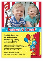 Cat In The Hat And Thing 1 2 Twins Photo Birthday Invitation