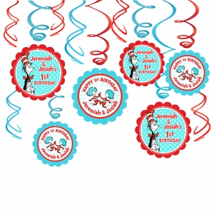 Cat In The Hat Birthday Party Decorations Hanging Swirls With Custom Danglers