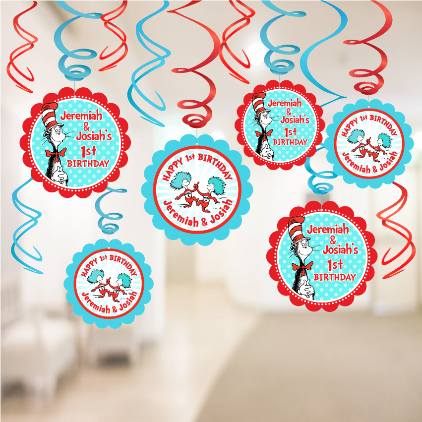 Cat In The Hat Birthday Party Decorations Hanging Swirls With