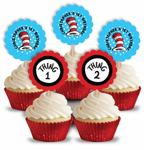 Cat In The Hat Birthday Party Personalized Cupcake Pick Toppers