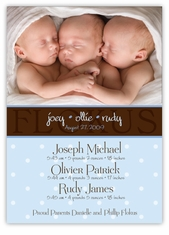 Chic Chocolate Photo Triplet Boys Birth Announcement