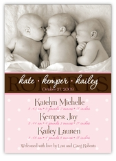 Chic Chocolate Photo Triplet Girls Birth Announcement