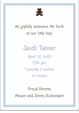 Chocolate Bear Boy Birth Announcement