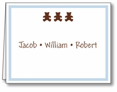 Chocolate Bears Boy Triplets Note Card