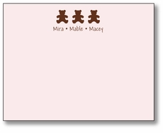 Chocolate Bears Girl Triplets Flat Note Card