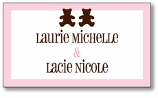 Chocolate Bears Twin Girls Enclosure Card