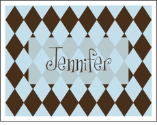 Chocolate & Blue Harlequin Note Cards