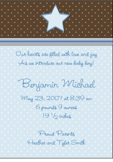 Chocolate Dots Boy Birth Announcement