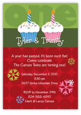 Mickey minnie twin first birthday party invitations amys card christmas cupcakes boy girl twins birthday invitation stopboris Choice Image