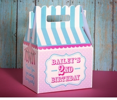 Circus Tent or Carnival Party Gable Favor Box<br>Pink & Aqua