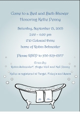 Classic Bathtub Blue Invitation