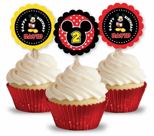 Classic Mickey Mouse Party Cupcake Picks/Toppers