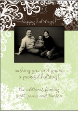 Classy Snowflakes on Brown Photo Christmas Card