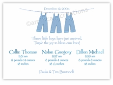 Clothesline Boy Triplet Birth Announcement