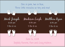 Color Block B&G Triplet Birth Announcement