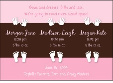 Color Block Girl Triplet Birth Announcement