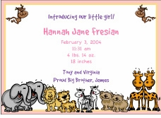 Critters Girl Birth Announcement