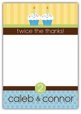 Cupcake Brights Twin Boys Thank You Note Card