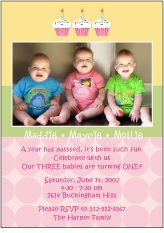 Cupcakes Girl Triplets Photo Birthday Invitation