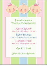 Cutie Pies Triplet Boy-Girl Birth Announcement
