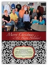 Damask Corporate Holiday Photo Card
