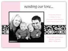 Damask Ribbon Valentine's Day Photo Card