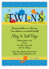 Darling Deep Sea Girl Boy Twins Baby Shower Invitation