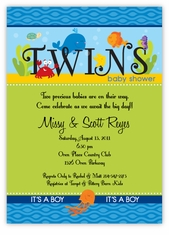 Darling Deep Sea Twin Boys Baby Shower Invitation