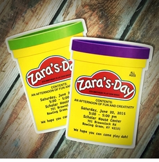 Darling Die Cut Play-Doh Can Party Invitations