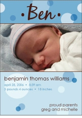 Delicious Dots Boy Photo Birth Announcement