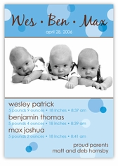Delicious Dots Boy Triplet Birth Announcement