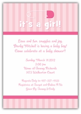 Diaper Pin on Stripes Girl Baby Shower Invitation