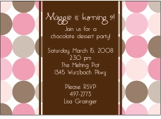 Disco Dots Pink & Brown Party Invitation
