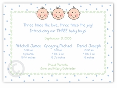 Dots-n-Faces Boy Triplet Birth Announcement