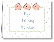 Dots-n-Faces Boy Triplets Note Card