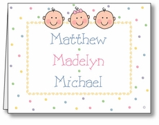 Dots-n-Faces G&B Triplets Note Card