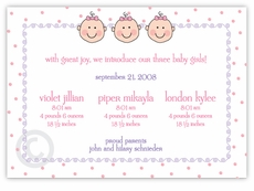 Dots-n-Faces Girl Triplet Birth Announcement