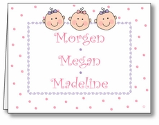 Dots-n-Faces Girl Triplets Note Card