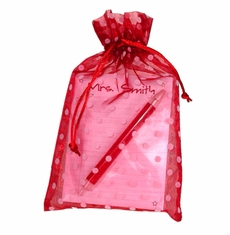 Dots Organza Bag Note Pad Gift Set