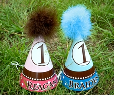 Dottie Dots Twins Birthday<br>Personalized Party Hats