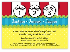 Dr Seuss Thing 1 2 3 Boy Triplets Birthday Invitation
