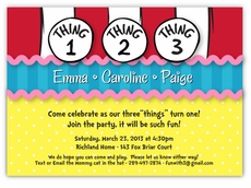 Dr. Seuss Thing 1 2 3 Girl Triplets Birthday Invitation