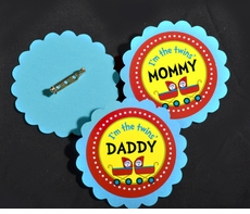 Dr. Seuss Thing 1 Thing 2 Multi-Color Prams<br>Personalized Pin on Baby Shower Name Tags