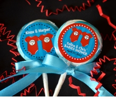 Dr Seuss Thing 1 Thing 2 Onesies<br>Personalized Twins Baby Shower Lollipop Favors
