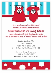 Dr Seuss Twin 1 & Twin 2 Boy Girl Outfits Baby Shower Invitation
