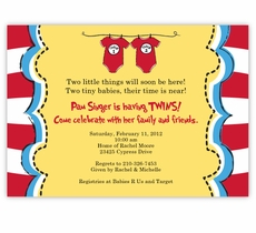 Dr Seuss Twin 1 & Twin 2 Onesies on Yellow Baby Shower Invitation