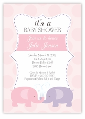 Elegant Elephants Girl Baby Shower Invitation